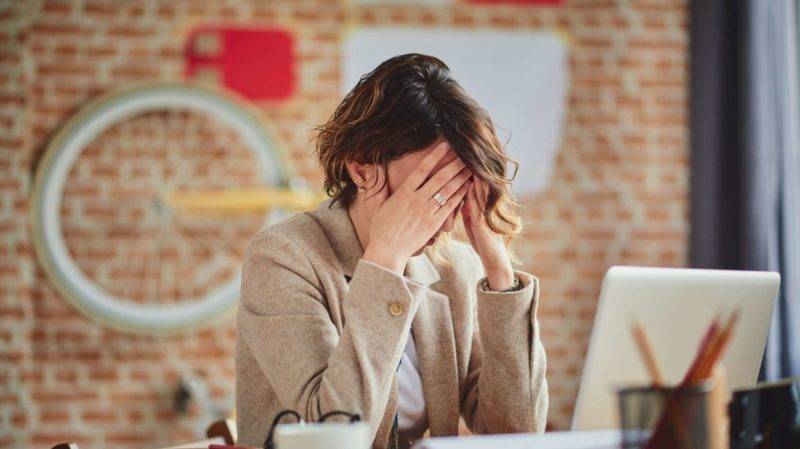 Upset woman at the office